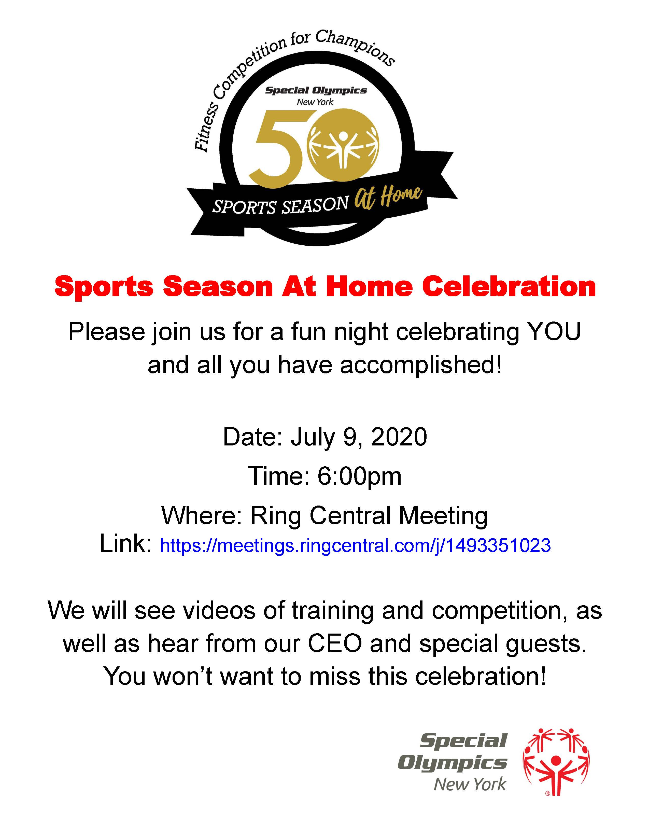 Special Olympics Season at Home Celebration Flyer